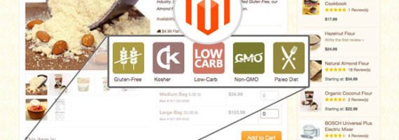 Product view page for Magento with attributes displayed as badges.